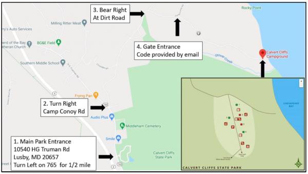 Calvert Cliffs Campground Map